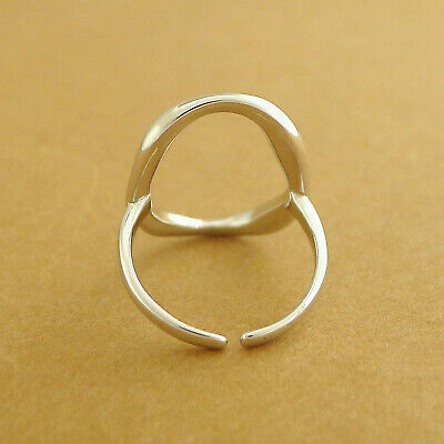 Solid 925 Sterling Silver Chunky Bright Bent Oval Circle Round Open Band Ring