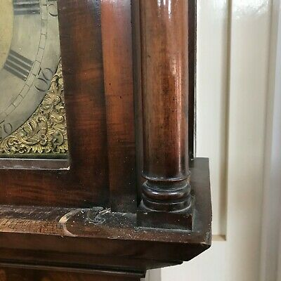 London long cased 8 day brass dial flamed mahogany cased 11