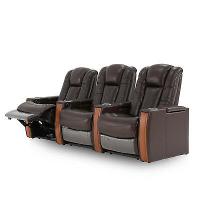Luxury Leather Electric Recliner Home Theatre Sofa Lounge W Cupholder Led Usb 12