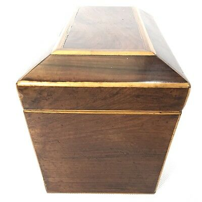 Fine Antique Regency Rosewood Satinwood Inlaid Two Section Tea Caddy C1820 5