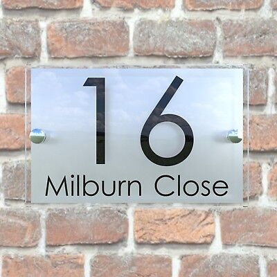 Contemporary HOUSE SIGN / PLAQUE / DOOR / NUMBER / GLASS EFFECT ACRYLIC 5