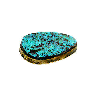 (2457) Antique Tibetan turquoises set in brass 5
