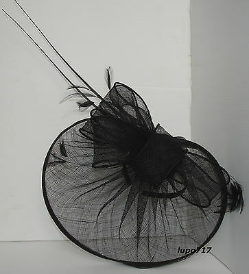 Black Hat Sinamay Feather Quill Fascinator Wedding Ascot Race Hen Party New 7