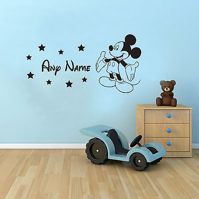MICKEY MOUSE & Name Personalised Wall Sticker Disney ...