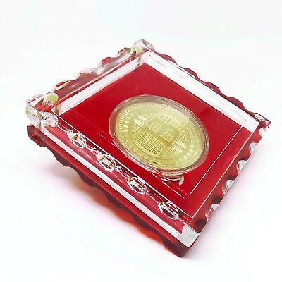 Bitcoin Gold Plated Physical Coin Commemorative Collection with Crystal Case 3