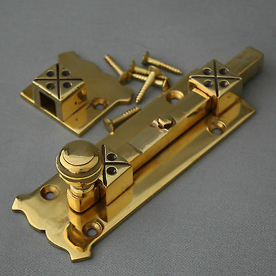 Brass Arts and Crafts Style Door Bolt 3