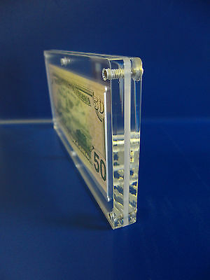 Acrylic Single Bank Note Frame Plastic Money Holder Currency Display Dollar Case 4