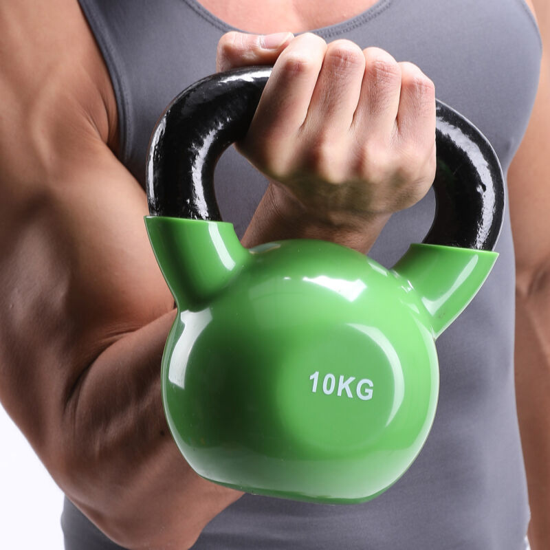 4KG-16KG CAST IRON KETTLEBELLS Vinyl WEIGHT EXERCISE STRENGTH GYM TRAINING 6