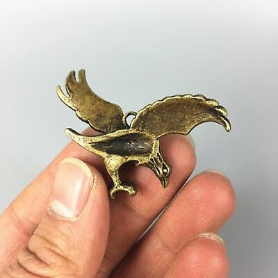 Antique Collectible Brass Handwork Flying Eagle Exquisite Pendant /Statue 3