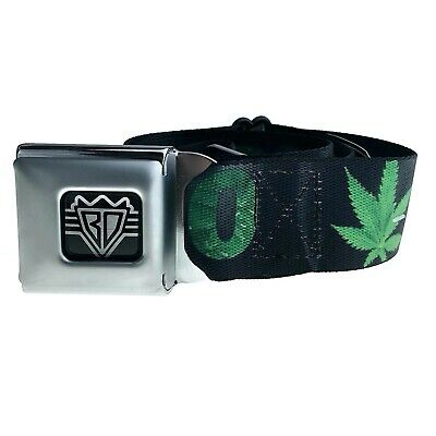 420 Weed Marijuana Leaf Green Pot Kush Smoke Hip Hop Seat Belt Style Buckle-Down