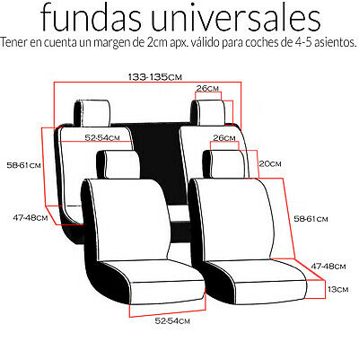 Funda de Asiento Universal Coche transpirable protector 7 pcs Relieve Asientos