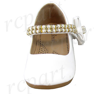 New girl/'s kids beads formal dress wedding shoes black bow formal holiday