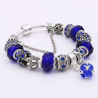 Women's European Charm Bracelet Silver Plated Crystal Charms Cuff Bangle 20CM 7