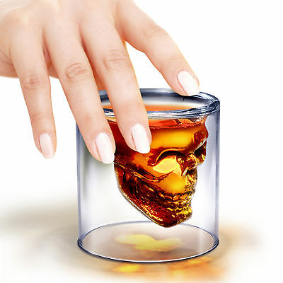 4x 3D Crystal Skull Head Vodka Shot Whiskey Wine Beer Tea Glass Drinking Cup V2 5