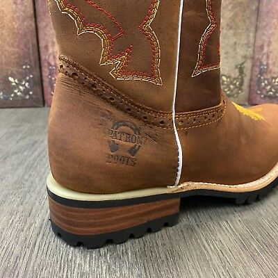 Men's Brown Work Boots Western Cowboy Square Toe Real Leather Saddle Botas
