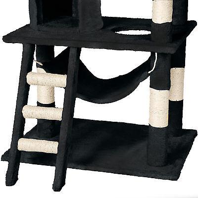 Arbre à chat griffoir grattoir geant sisal avec hamac lit 141 cm hauteur noir 6