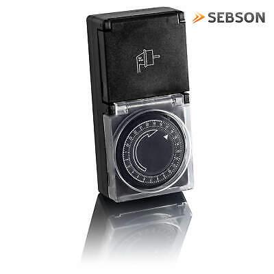 2x Zeitschaltuhr Außen IP44, analog, mechanisch, 24h Timer, für Steckdose SEBSON 2
