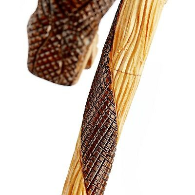 Hand Carved Unique Walking Stick Cane From Oak - Quality Crook Handle Made in EU 3