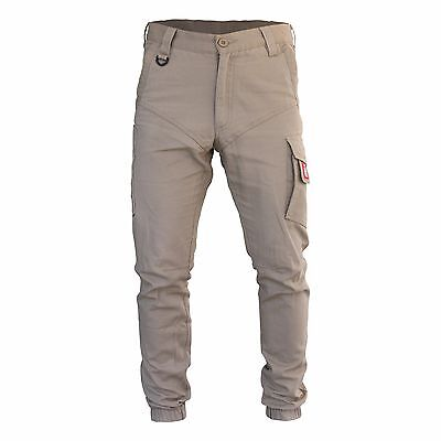 Mens Cargo Pants Trousers Elastic Banded ankle cuff, Cotton Work Wear Tapered 4