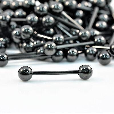 Straight Barbell Tongue Bar Steel BLACK GOLD Piercing Eyebrow Tragus Nipple 2