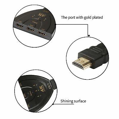 4K Ultra HD 3 Way HDMI Switch Splitter HDTV Auto 3 Port IN 1 OUT Splitter CAN SL 3
