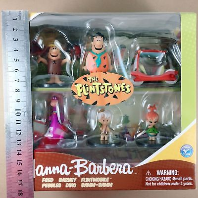 "The Flintstones Hanna Barbera 2/"" Box Set 6 Figures Jazwares Fred Barney Dino"