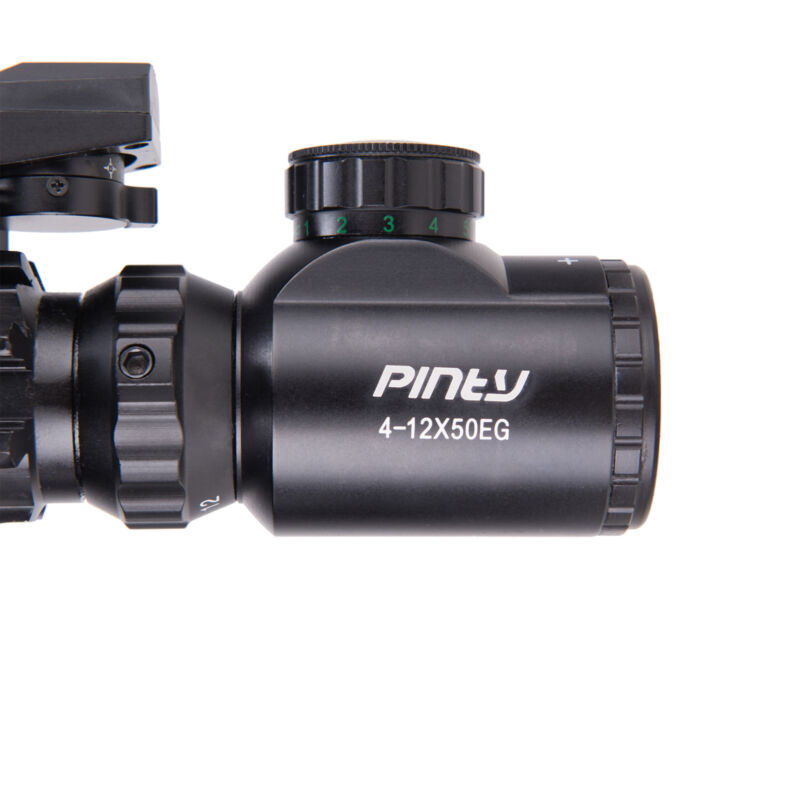 Pinty 4-12X50 Tactical Rangefinder Reticle Rifle Scope Green Laser & Dot Sight 9