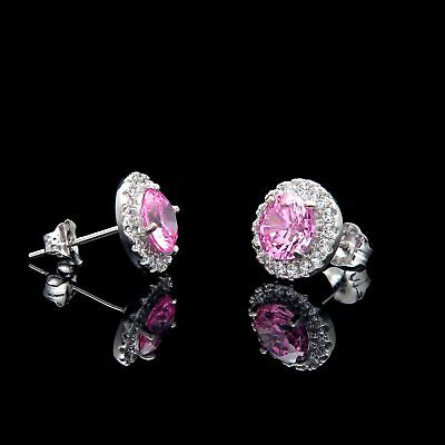 2CT Halo Pink Created Diamond Earrings 14k White Gold Round Cut Rose Studs 3