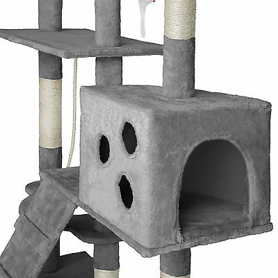 Arbre à chat xxl griffoir grattoir geant avec 2 grottes anthracite gris 2