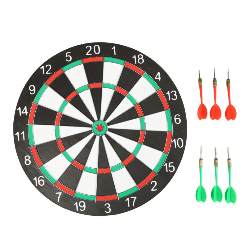 "Large 14"" Dart Board Set Dartboard Family Party Game Fun With 6 Darts UK Seller 3"