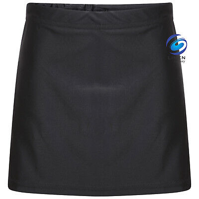 Girls Black Skort School Sports Outer Skirt and Base Layer Soft Stretch Fabric 2
