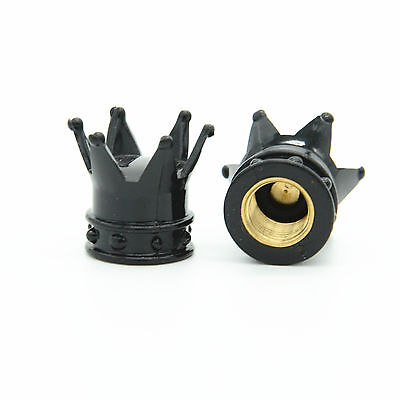4 Pcs Black kings Crown Tyre Tire Wheel Valve Stems Air Dust Cover Cap Car Suv 2