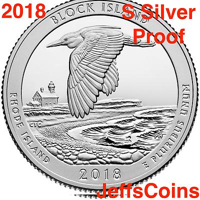 2018 S REVERSE Block Island National Seashore 90% Silver Proof Park Quarter ATB 2
