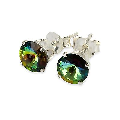 Sterling Silver  Enchanted Forest Stud Earrings Made With Crystal From Swarovski