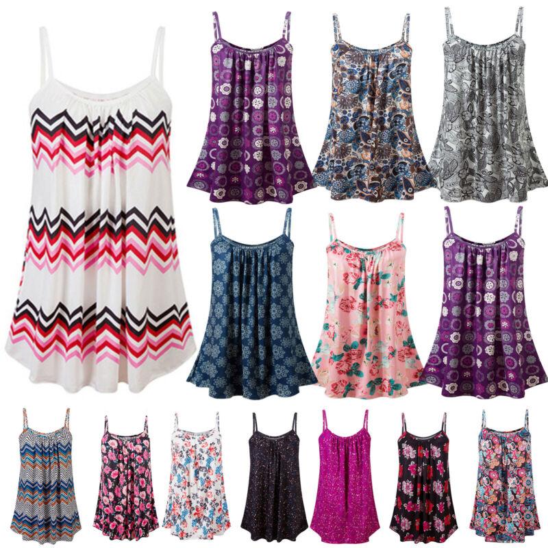 Boho Womens Ladies Cami Vest Swing Pleated Sleeveless Tank Tops Dress Size 8-24 7