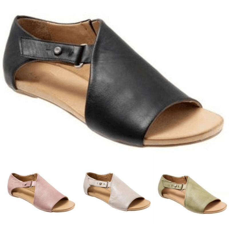 Womens Ladies Peep Toe Buckle Flat Sandals Summer Holiday Boots Shoes Size 3.5-8 4