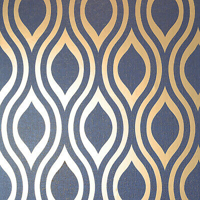 Arthouse Luxe Ogee Geometric Wallpaper In Silver Navy Gold