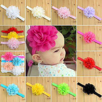 Newborn Kids Girls Headband Ribbon Elastic Baby Headdress Hair Band Bow Knot 2