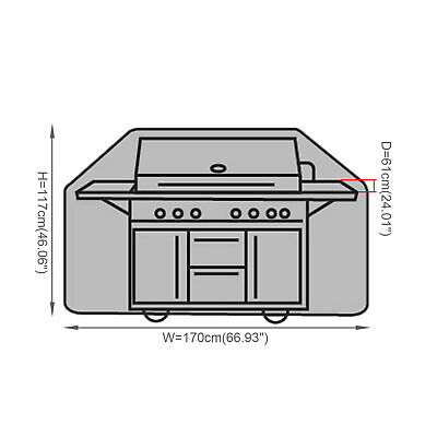 170CM Large BBQ Cover Heavy Duty Waterproof Garden Barbecue Grill 4