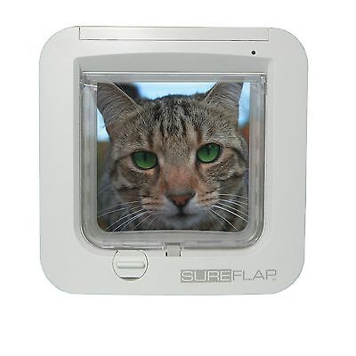 SureFlap Microchip Cat Flap White - Keep Out Foreign Pets, 4-Way Locking Genuine