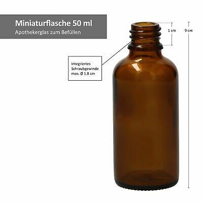 3tlg. Miniaturflaschenset Tropfflasche Braunglas 50ml Apothekerfläschen Tropfer 4