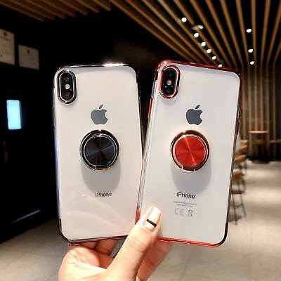 For iPhone XR XS MAX X 7 8 Plus Clear TPU Case Cover With Magnetic Ring Holder 4