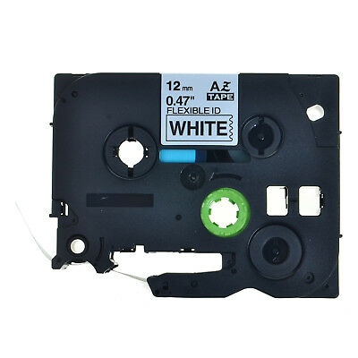 2* Black on White Flexible Label Tape 12mm For Brother P-touch PT-D400 TZe-FX231