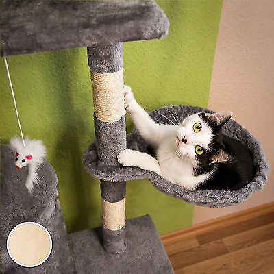 Arbre à chat griffoir grattoir jouet animaux douillet et peluché beige 4