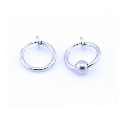 Fake Clip On SPRING Nose Hoop Ring Ear Septum Lip Eyebrow Earrings BCR Piercing 5
