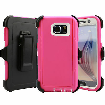 For Samsung Galaxy S6 Case Cover Rugged With (Belt Clip Fits Otterbox Defender) 6