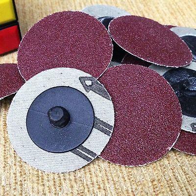 "50Pcs 2"" Roloc R Type Roll Lock Sanding Abrasive Disc Cookie 120 Grit w/ 2"