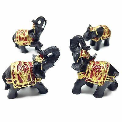 Set of 4 Feng Shui Black Thai Elephant Statues Lucky Figurine Gift & Home Decor 5