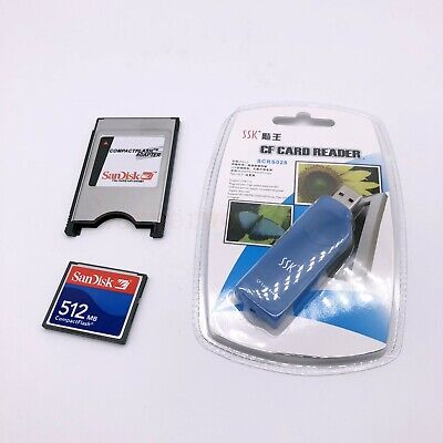 512MB Compact Flash Memory Card CF Card +PCMCIA Adapter+SSK USB2.0 reader FANUC 2