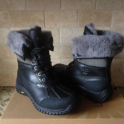 129f548980f UGG ADIRONDACK II Black Gray Waterproof Leather Snow Boots Size US 7.5  Womens